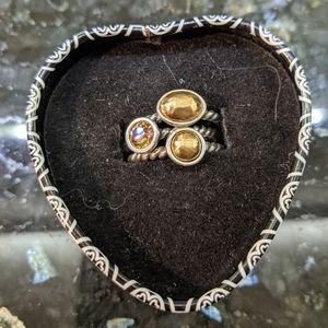 Brighton Gold & Silver Ring Trio- So Cute Sz 6